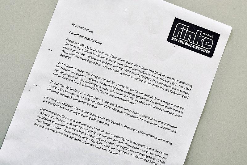 Das Mobelhaus Finke In Paderborn Wird Dicht Gemacht Die Krieger Gruppe Kurzlich Ubernommen Hat Will Mitte Kommenden Jahres